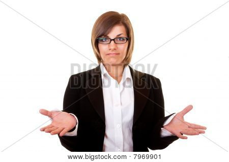 Confused Businesswoman On White Background