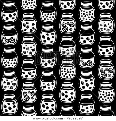 Black and White seamless pattern with the fruit jam jars.