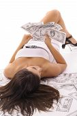 stock photo of spanish money  - shot of a sexy woman counting money - JPG