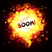 picture of fireball  - Vector orange fireball speech bubble with Boom sign - JPG