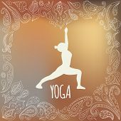 pic of virabhadrasana  - Yoga logo with heart frame and girl practicing Warrior I Pose  - JPG