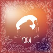 picture of dhanurasana  - Yoga logo with heart frame and girl practicing Wheel Pose  - JPG