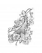 stock photo of koi  - Hand drawn vector illustration or drawing of a japanese traditional koi fish - JPG