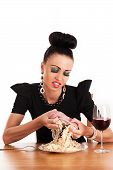 foto of greedy  - greedy woman eating raw meat isolated on white - JPG
