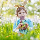 picture of bunny ears  - Cute happy little child wearing Easter bunny ears at spring green grass and blooming apple garden eating chocolate bunny and having fun outdoors - JPG