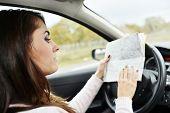 picture of steers  - Woman at steering wheel reading road map - JPG
