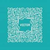 picture of monogram  - Vector floral frame with copy space for text in trendy mono line style  - JPG