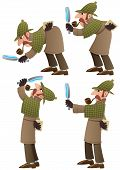 picture of sherlock  - Set of 4 illustrations of cartoon detective - JPG