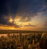 picture of empire state building  - Aerial view of New York City from the Empire State Building at sunset - JPG