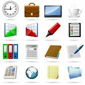 stock photo of file folders  - Business and office icons set - JPG