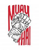 image of muay thai  - Hand drawn vector illustration or drawing of a fist and the words - JPG