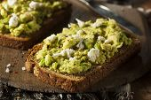 stock photo of avocado  - Healthy Homemade Avocado Toast with Salt and Feta - JPG