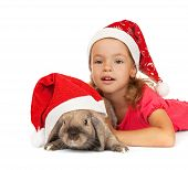 stock photo of dwarf rabbit  - Child in the New Year hat with a rabbit - JPG