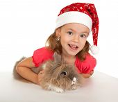 stock photo of rabbit year  - Child in the New Year hat with a rabbit - JPG