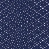 picture of indigo  - Traditional Japanese Embroidery Ornament with rhombuses. Vector seamless pattern. Sashiko motif - diamonds. Plain backdrop. Needlework texture.