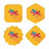 picture of confetti  - Horse Confetti Flat Icon With Long Shadow - JPG