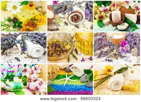 Spa Set With Aroma Oil, Sea Salt, Flowers, Lavender, Plants, Towel, Soap, Stones, Candle