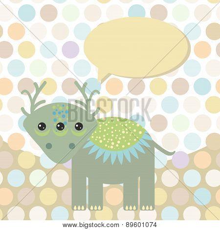 Polka Dot Background, Pattern. Funny Cute Monster Dinosaur On Dot Background. Vector