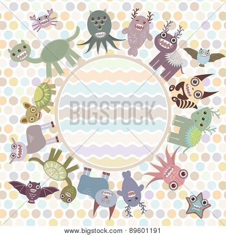 Polka Dot Background, Card For Your Text In Circle. Funny Cute Dinosaur Monsters On Dot Background.