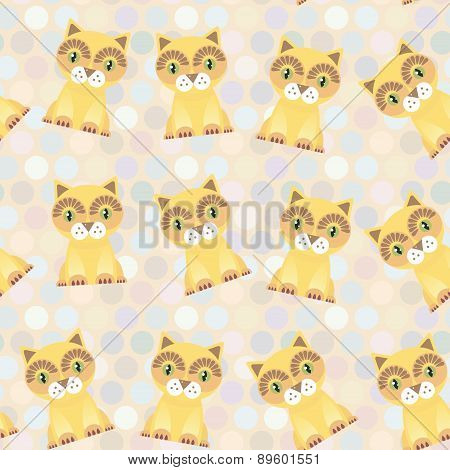 Polka Dot Seamless Background, Pattern. Funny Red Cat On Dot Background. Vector