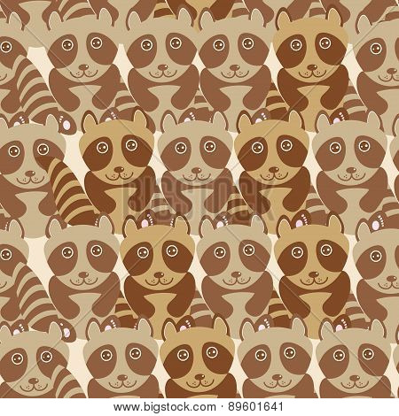 Funny Cute Raccoon Seamless Background, Pattern. Vector