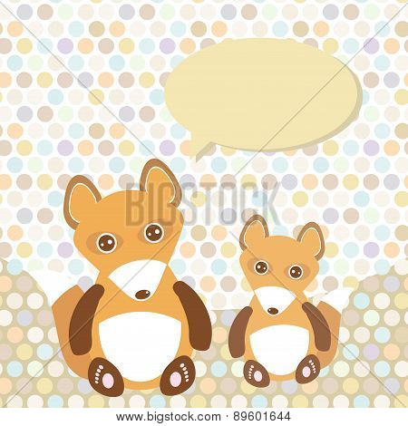 Polka Dot Background, Pattern. Funny Cute Fox With Speech Bubble. Vector