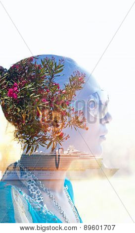 Double Exposure Portrait Of A Young Woman With Colorful Flowers In Her Hair