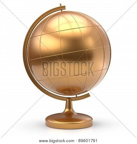 Globe Blank Golden Planet Earth Global Geography Symbol
