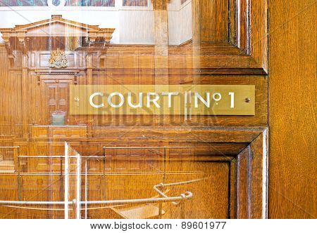 Double exposure image of crown court interior