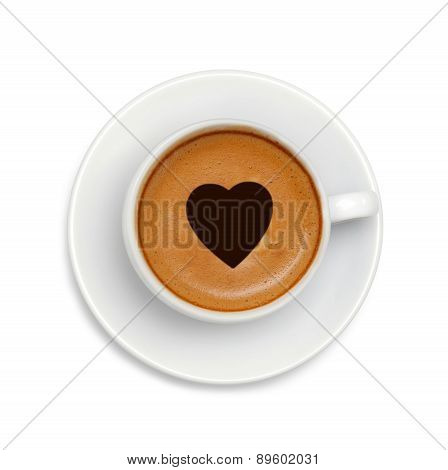 Latte Coffee With Heart Symbol Isolated On White Background