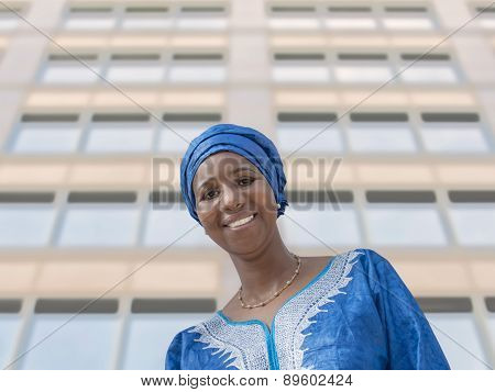 Afro beauty wearing a traditional headscarf