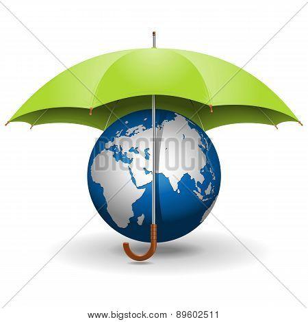 Vector Umbrella and Globe