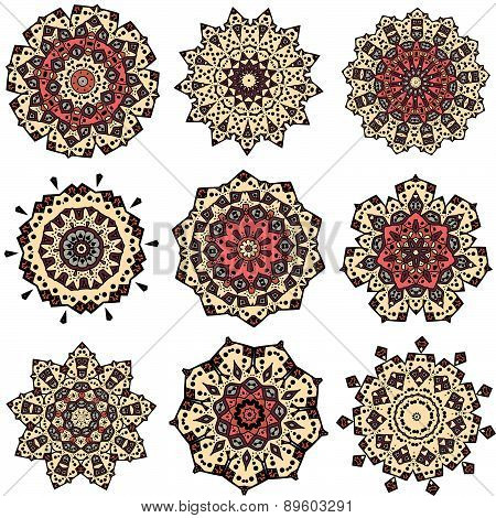 Set of yellow orange mandalas