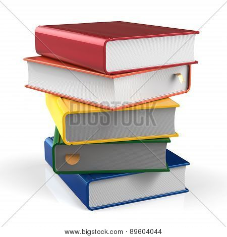 Book Blank Stack Of Books Covers Colorful Textbook Five