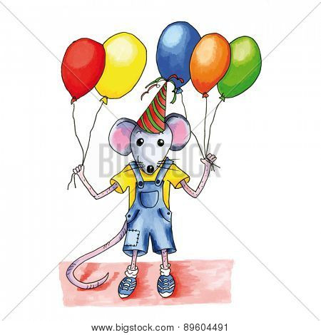 Little mouse child with many birthday balloons
