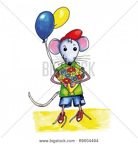 Little mouse child with bouquet birthday flowers and balloons
