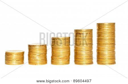Columns Of Gold Coins Isolated On White Background
