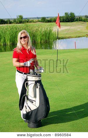 girl on golf field