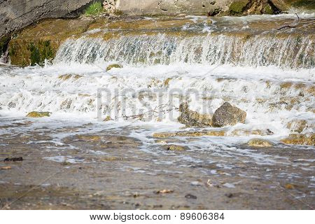 Small Waterfall In A Park
