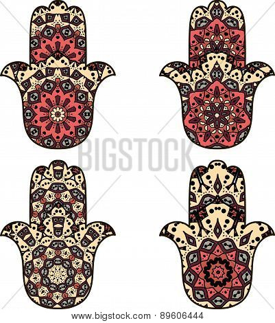 Set of  beige orange hamsa