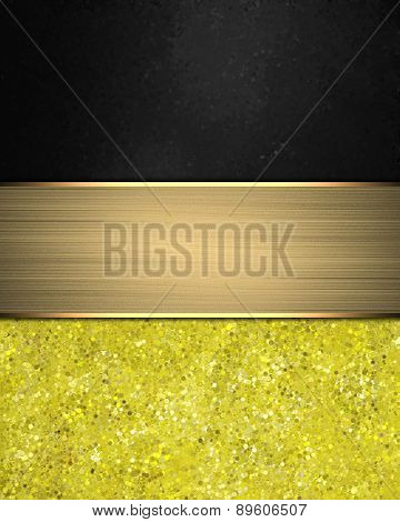 Black And Yellow Background With Gold Ribbon. Element For Design. Template For Design.
