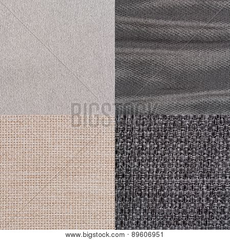 Set Of Blue Fabric Samples