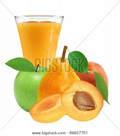 Fresh Juicy Fruits And Glass Of Juice Isolated On White