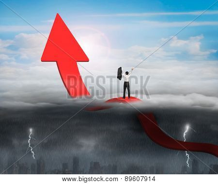 Businessman Cheering Arrow Up Bending Trend Line With Sunny Stormy