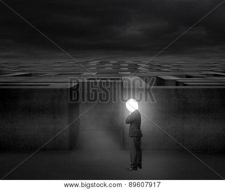 Thinking Businessman With Bright Lamp Head Illuminated Dark Maze Entrance
