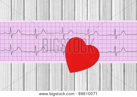 Electrocardiogram Graph And Heart On Wooden Background