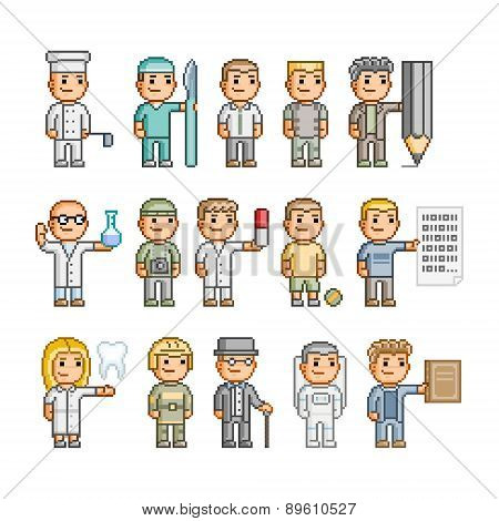 Pixel art people of different professions