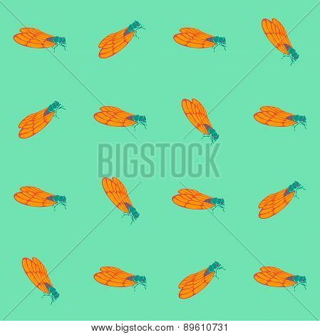 Seamless Pattern With Insects. Cicada Repeated Vector Pattern.