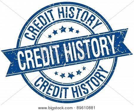 Credit History Grunge Retro Blue Isolated Ribbon Stamp