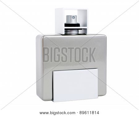 Men Perfume Bottle With Spray Isolated On White Background